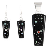 Sterling Silver Pendant & Earrings Set Black & Opal PE4030-C27