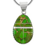 Sterling Silver Pendant Green Turquoise P3131-C06