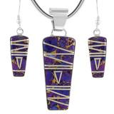 Sterling Silver Pendant & Earrings Set Turquoise PE4030-C07