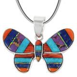 Sterling Silver Butterfly Pendant Multi Gemstone P3146-C01