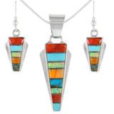 Sterling Silver Pendant & Earrings Set Multi Gemstone PE4033-C01