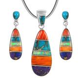 Sterling Silver Pendant & Earrings Set Multi Gemstones PE4014-C00