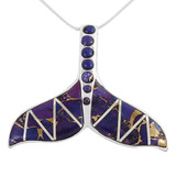 Sterling Silver Whale Tail Pendant Purple Turquoise P3157-C07