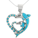 Sterling Silver Double Dolphin Heart Pendant Turquoise P3155-C05