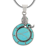 Sterling Silver Snake Pendant Turquoise P3153-C05