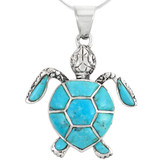 Sterling Silver Turtle Pendant Turquoise P3162-C05