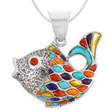 Sterling Silver Fish Pendant Multi Gemstone P3161-C01