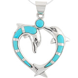 Sterling Silver Dolphin Pendant Turquoise P3169-C05