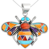 Sterling Silver Bee Pendant Multi Gemstone P3159-C01