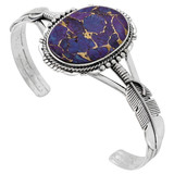 Sterling Silver Feather Bracelet Purple Turquoise B5550-C77