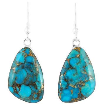 Matrix Turquoise Drop Earrings Sterling Silver E1058-C84