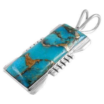 Matrix Turquoise Jewelry Pendant Sterling Silver P3044-LG-C84