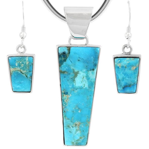 Sterling Silver Pendant & Earrings Set Turquoise PE4012-C75