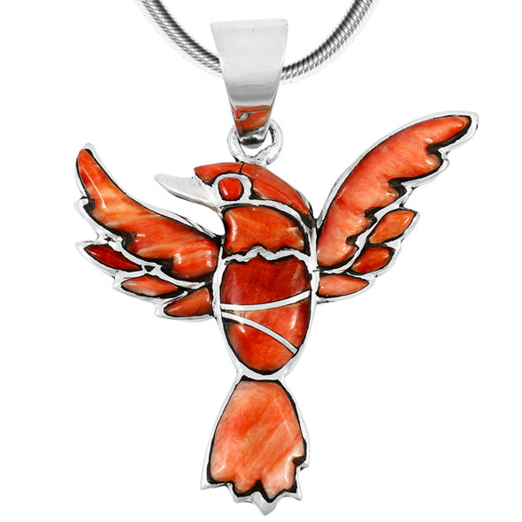 Sterling Silver Hummingbird Pendant Spiny Oyster P3219-C78