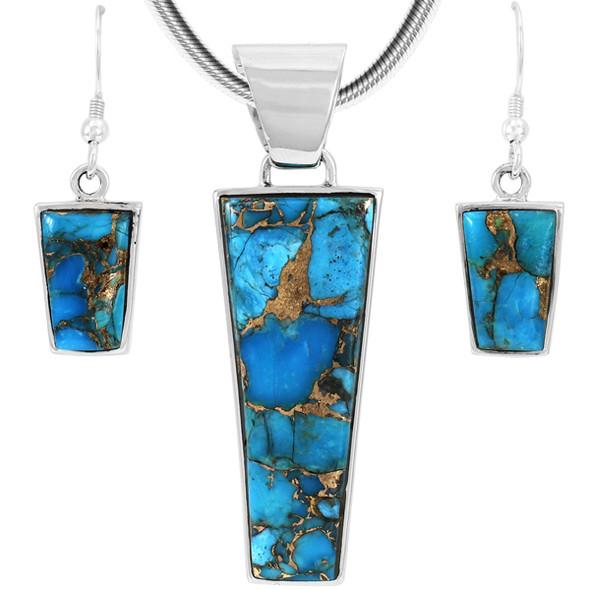 Sterling Silver Pendant & Earrings Set Matrix Turquoise PE4012-C84