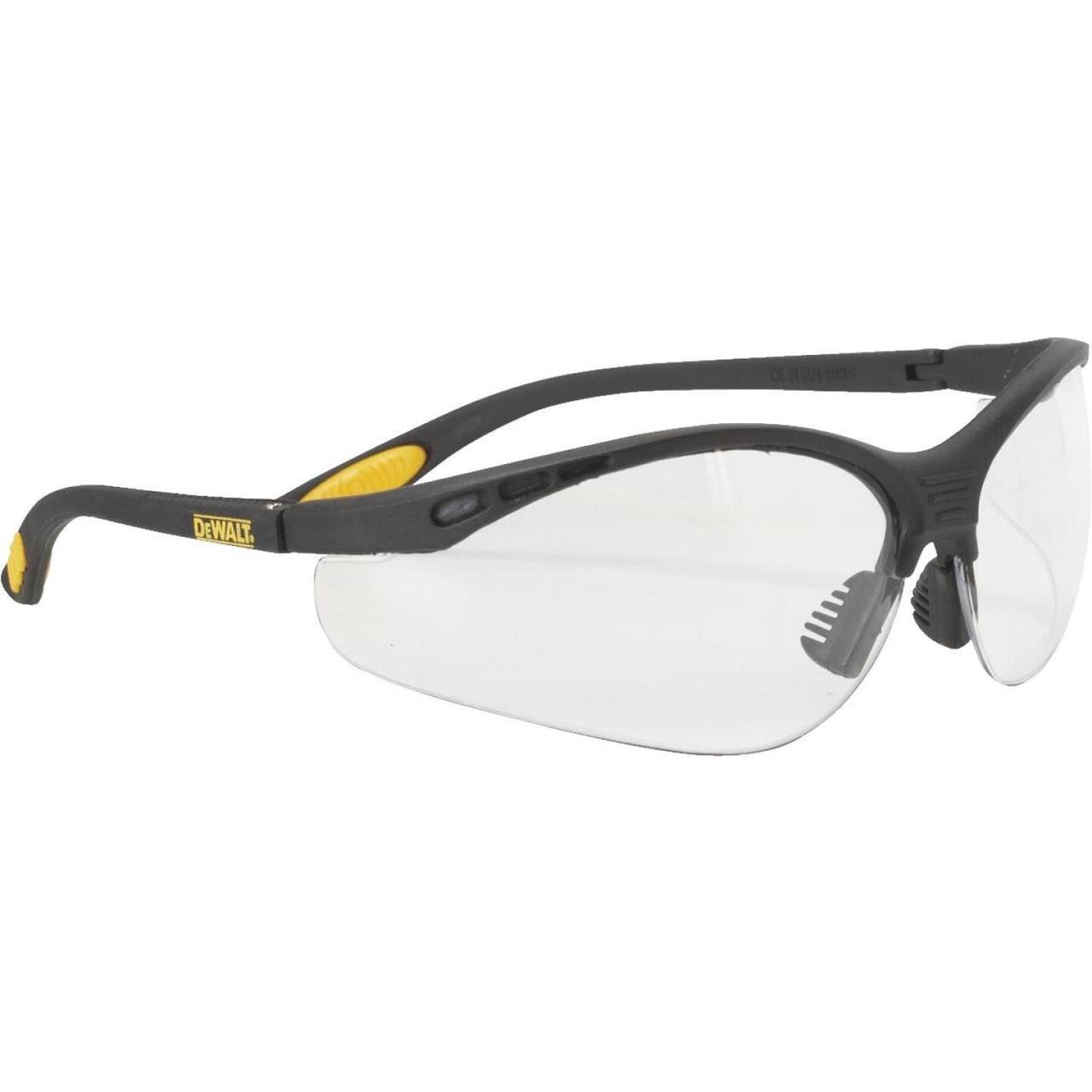 Dewalt Reinforcer Black/Yellow Frame Safety Glasses With Clear Lenses