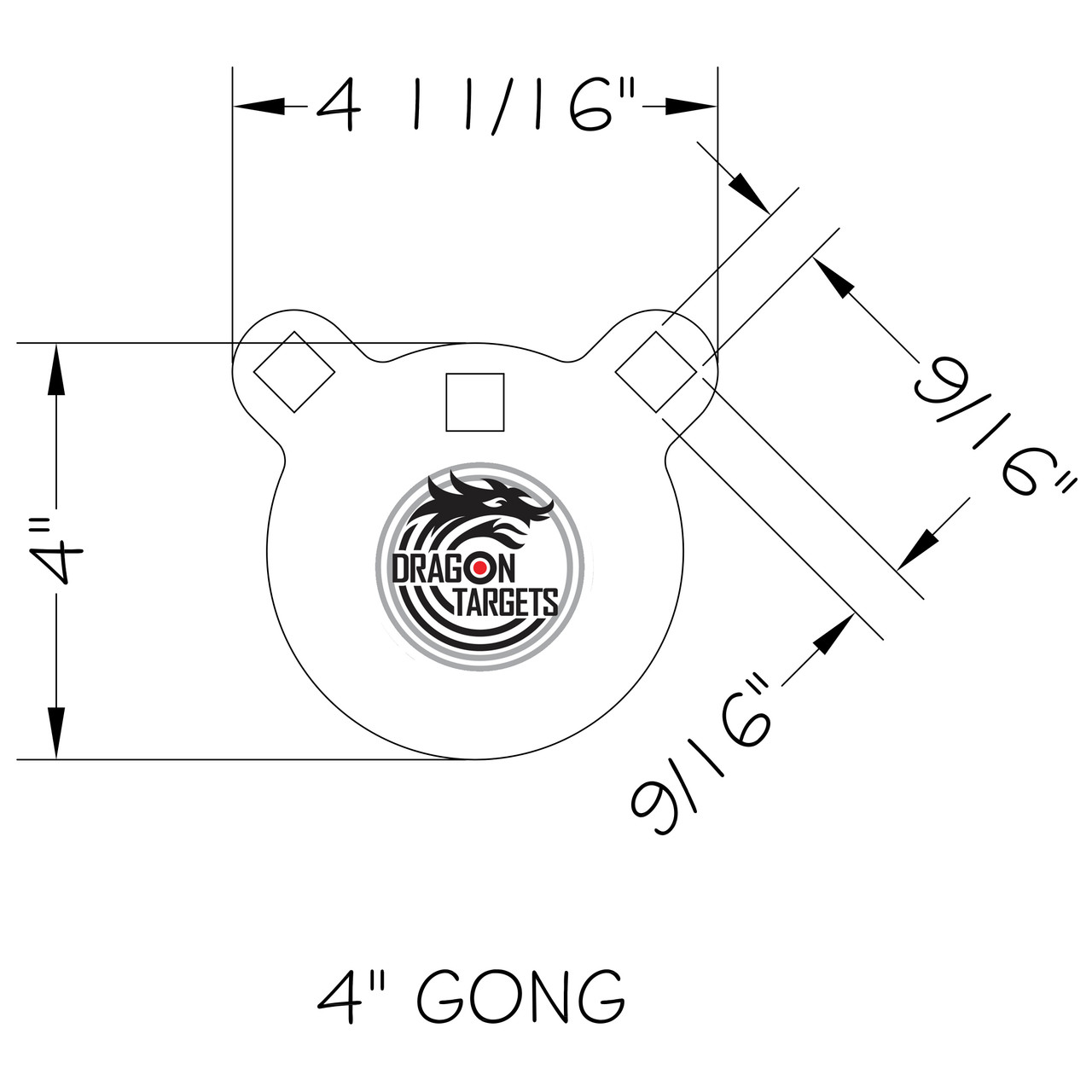 "Dragon Targets 4"" x 1/2"" Gong AR500 Steel Shooting Target"