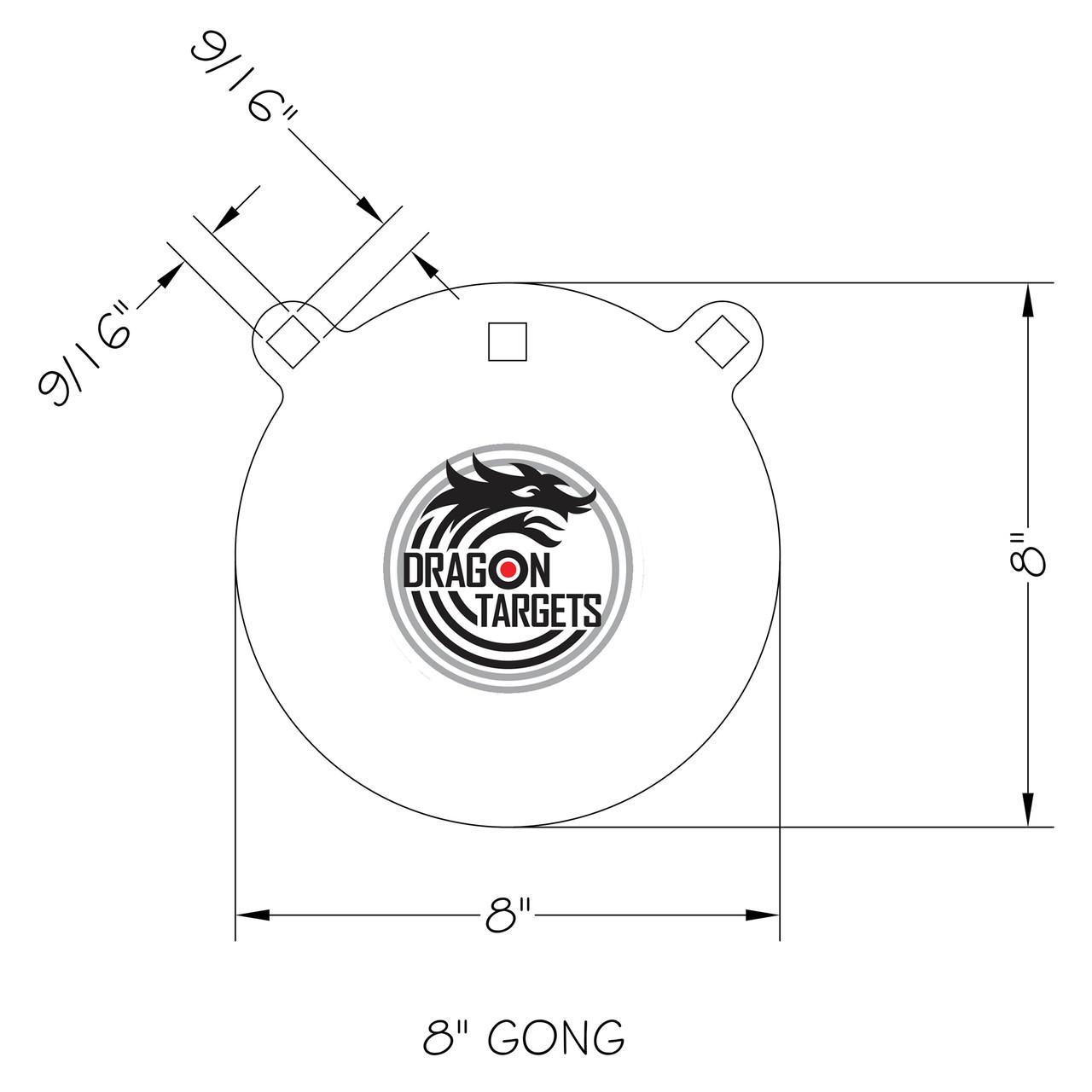 "Dragon Targets 8"" x 3/8"" Gong AR500 Steel Shooting Target"