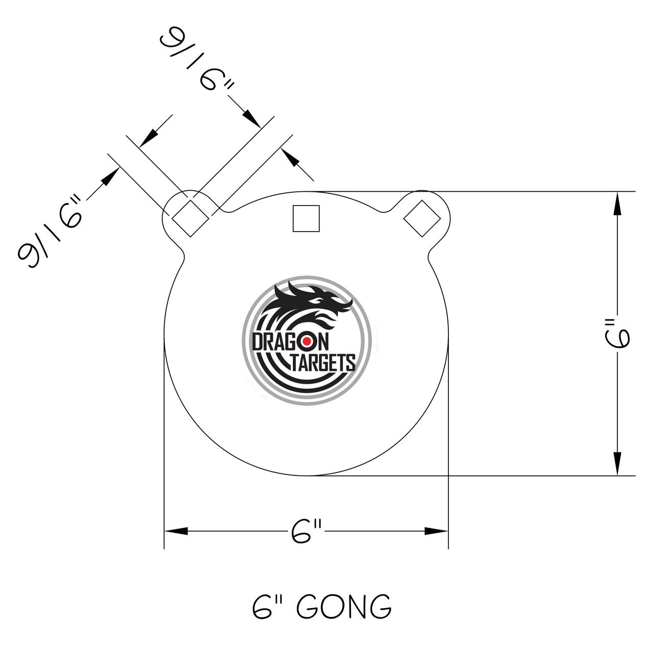 "Dragon Targets 6"" x 3/8"" Gong AR500 Steel Shooting Target"