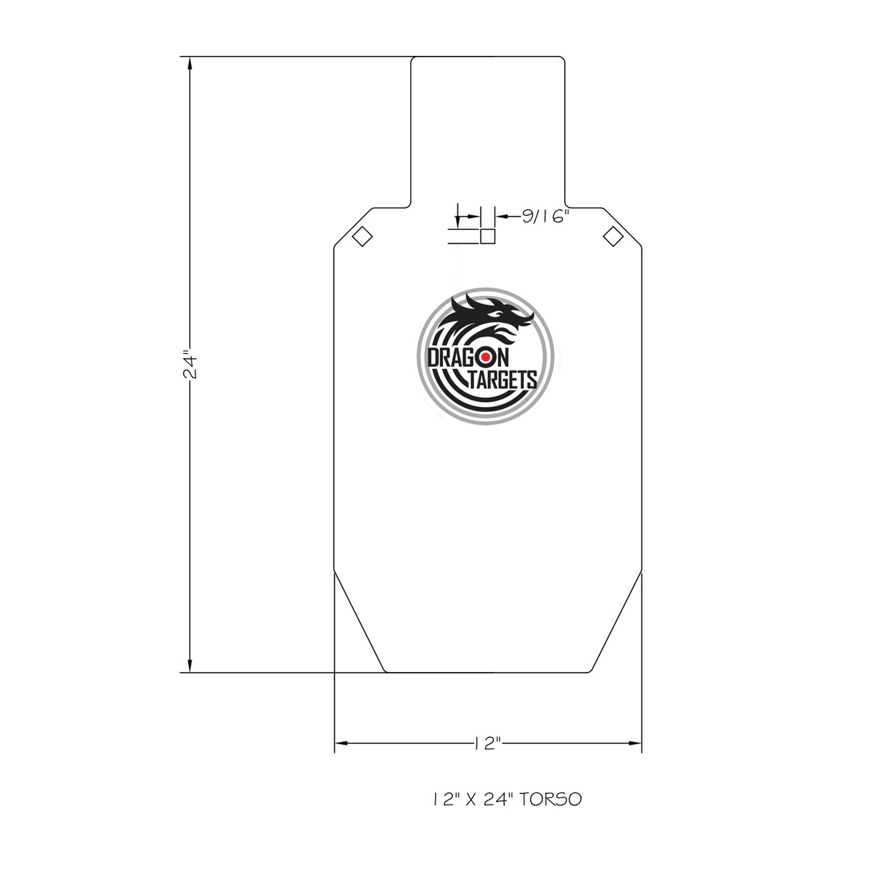 "Dragon Target AR500 Steel Shooting Torso Target 12""X24""X 3/8"""