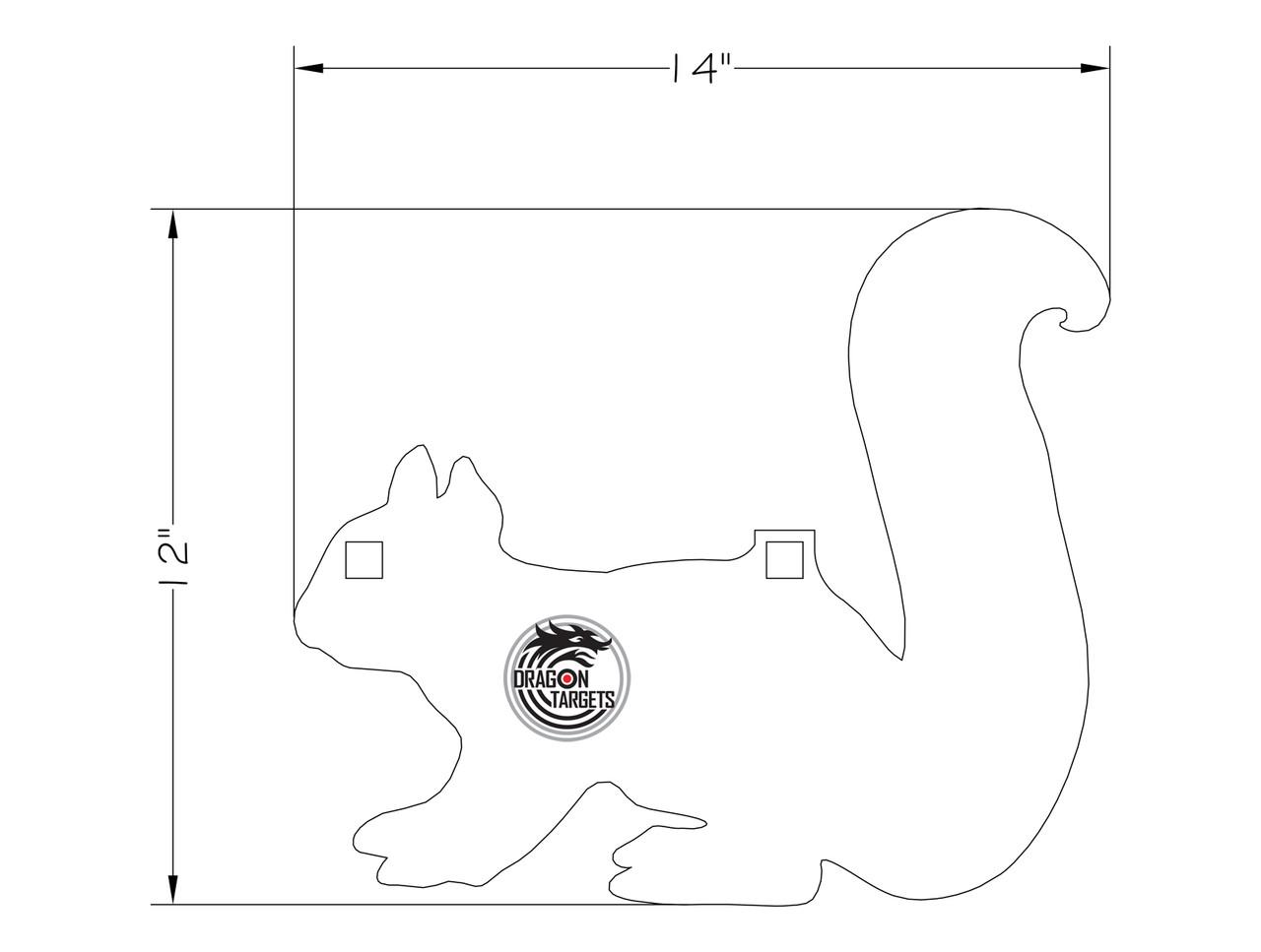 "Dragon Targets Squirrel 3/8"" AR500 Steel Shooting Target"