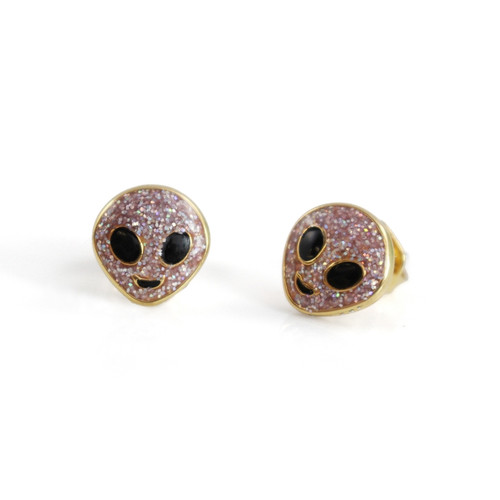 Lilac Glitter Alien Stud Earrings