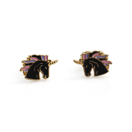 BLACK UNICORN STUD EARRINGS