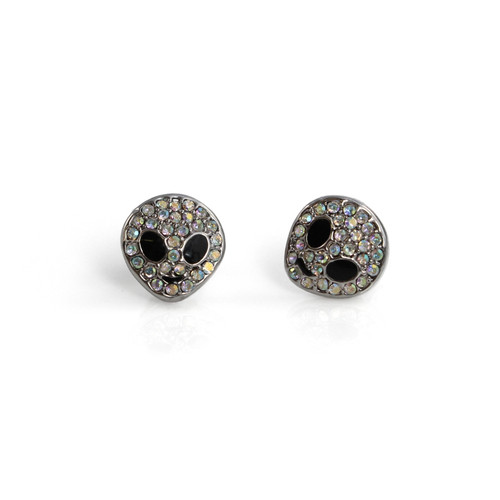 Pave & Silver Alien Stud Earrings