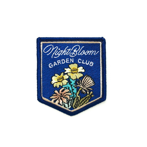 Night Bloom Garden Club Embroidered Iron On Patch