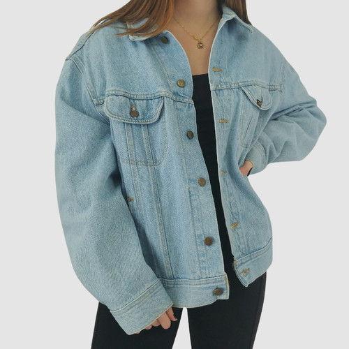 VINTAGE 90S LEE LIGHT WASH DENIM JACKET - XL