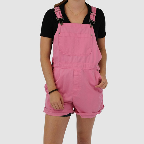 VINTAGE 90S PINK OVERALL SHORTS - L