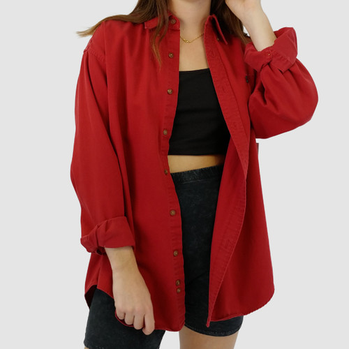 OVERSIZED VINTAGE 90S RED BUTTON UP