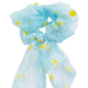 FLORAL CHIFFON BOW SCRUNCHIE ~ BLUE