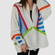 OVERSIZED VINTAGE 90S STRIPED COLORBLOCK WINDBREAKER - XL