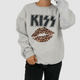 KISS CHEETAH PRINT LOGO SWEATSHIRT