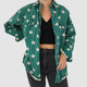 VINTAGE 90S DENIM STAR PATTERN BUTTON UP - L