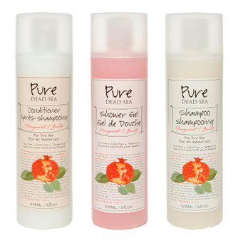Pure Dead Sea Pomegranate Shampoo and Conditioner Kit takes care of your hair