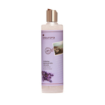 The exfoliating Dead-Sea Sea of Spa Lavender Blossom Shower Gel by SEA of SPA contains loolah mikro elements and Dead-Sea salt. Those and other unique Sea of Spa Lavender Blossom Shower Gel ingredents deeply cleanses the skin and narrows the pores.