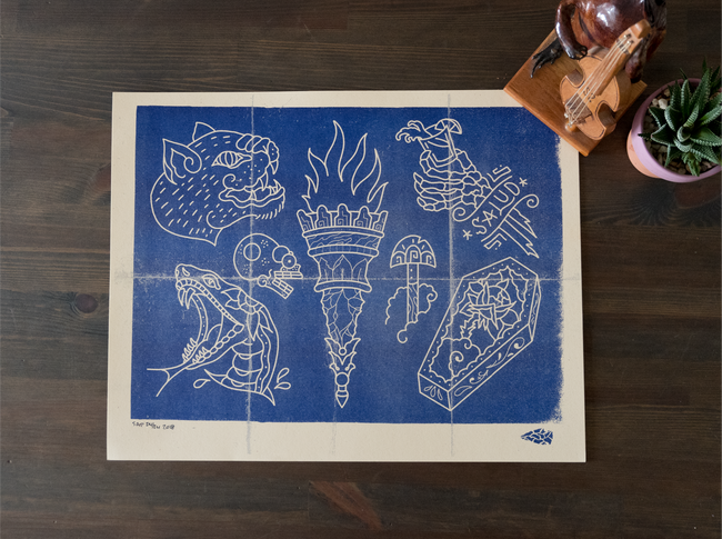 Salud Blue Print Risograph Print, Printed on French Paper