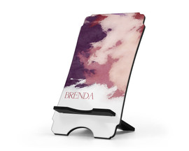 Personalized Cell Phone Stand Purple Watercolors