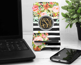 Personalized Cell Phone Desk Stand - Watercolor Floral and Stripes Print