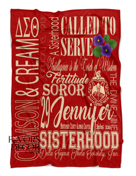 Personalized Red Delta Sigma Theta Blanket