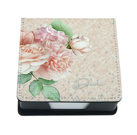 Personalized Post-It Note Holder, Memo Tray with Flowers and Diamonds