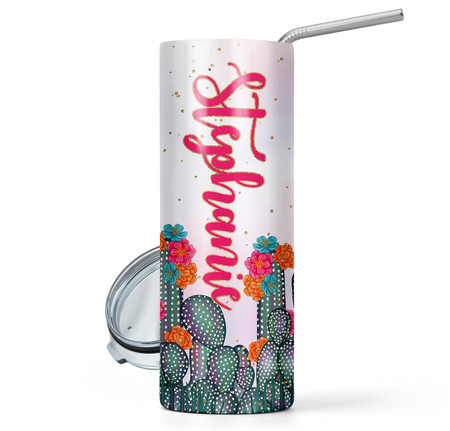 Cactus Print 20 oz Stainless Steel Personalized Skinny Tumbler