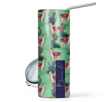 Mexican Llama Print 20 oz Stainless Steel Personalized Skinny Tumbler