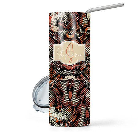 Snake Orange Print 20 oz Stainless Steel Personalized Skinny Tumbler