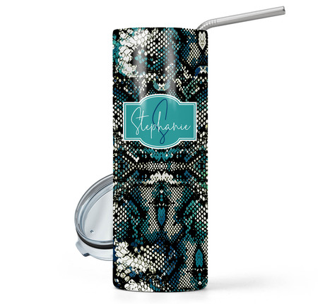 Snake Teal Print 20 oz Stainless Steel Personalized Skinny Tumbler