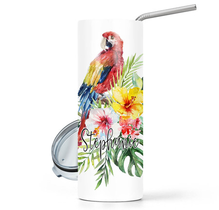 Tropical Bird 20 oz Stainless Steel Personalized Skinny Tumbler