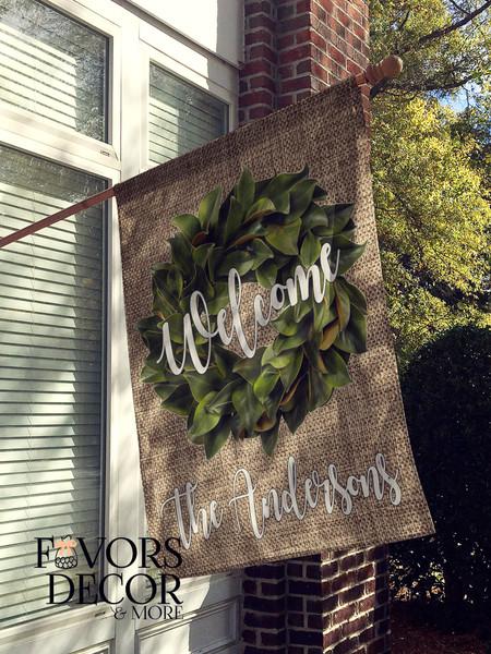 Magnolia Wreath and Burlap Personalized House Flag