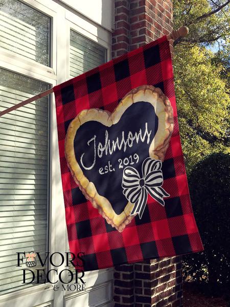 Wood Heart Buffalo Plaid Print Personalized House Flag